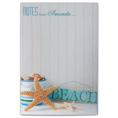 """A cute note pad that's super easy to personalize, just use the CUSTOMIZE IT button above. """"Starfish Beach"""" design by Cheryl Daniels © 2014. Matching products available: wedding & party invitations, save the dates, RSVP cards, postage stamps, photo album, stickers, thank you cards & more! For custom requests, contact cheryl@cheryldanielsart.com."""