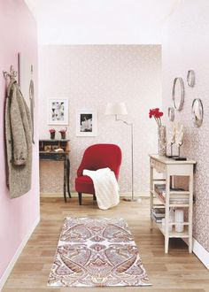 beautiful wallpaper and vintage furniture