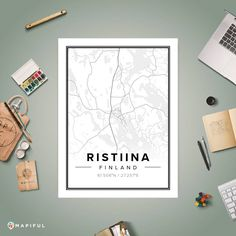 A map poster from Mapiful.com. A creative DIY tool to make your own map poster. This is 'Ristiina'
