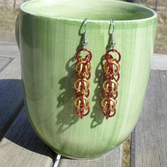 Mikalos - Red and Gold Apollo Earrings. $10.00, via Etsy.