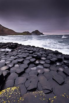 Giant's causeway - A magnificent basalt hexagonal rock formation in Ireland.