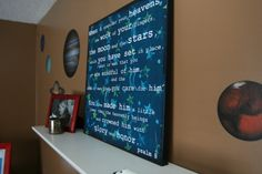 Verses for boys outer space bedroom.    Psalm 8:3-5    New Living Translation…
