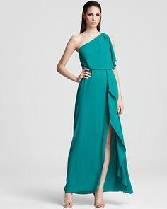397d586a3edbab BCBGMAXAZRIA One Shoulder Gown - Kendal Ruffle