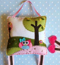 Owl felt hair clip bow holder