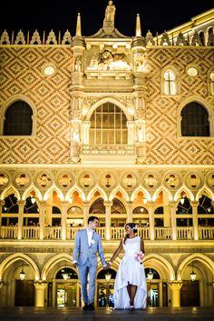 Wedding Photo Shoots on the Las Vegas Strip. Nighttime at the Venetian.