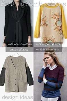 Design Inspiration | great rehab ideas but also replacing knitted parts with fabric, leather, suede and faux fur | see more inspiration and tips