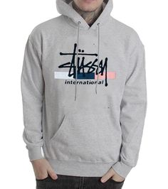 stussy international grey color Hoodies
