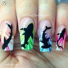 Shark Week Nail Art design addition accumulating for Shark Week! Nail Manicure, Diy Nails, Cute Nails, Pretty Nails, Shark Nail Art, Animal Nail Art, Nagellack Trends, Beach Nails, Christmas Nail Art