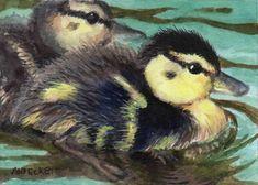 ACEO Original Painting Ducklings animals birds babies wildlife ducks feathers #Impressionism