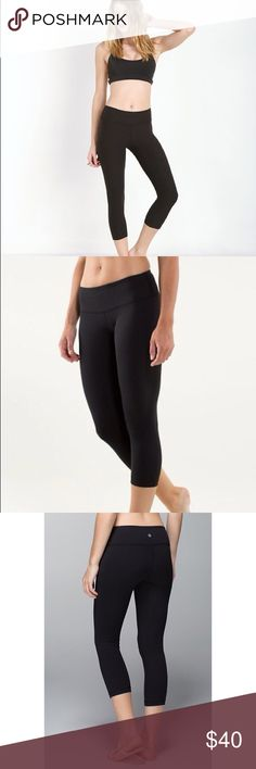 Lululemon Black Cropped Leggings SZ 4 Black Lululemon cropped leggings!! The perfect leggings for everyday wear that everyone loves! Selling for cheep because of minor flaws (slightly pilling) that I can't even take a picture of because they are so tiny:) In love with these, I just grew out of them. lululemon athletica Pants Leggings