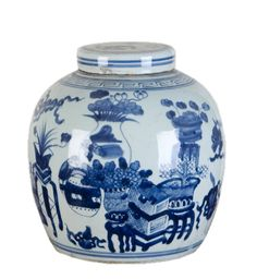 This Eight Treasures Chinese melon jar is the perfect addition for your bookshelves. 10d x 10h