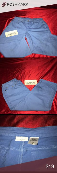 Jaclyn Smith blue capri These are in great condition,Capri length but if your shorter will go over knees..size 8 w/98% cotton & 2% spandex...goldtone buttons and hardware.Front 2 pockets & 2 back pockets.Worn once and cleaned..a small pocket inside pocket...as always I give amazing deals... Jaclyn Smith Jeans