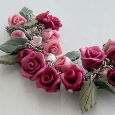 Burgundy Rose Charm Bracelet - Polymer Clay