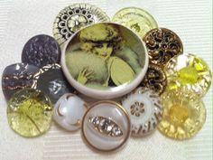 Antique Vintage Art Deco Czech Glass Depression Glass Metal Twinkle Buttons