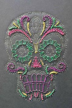 Cool nail string art skull mustache bright colors