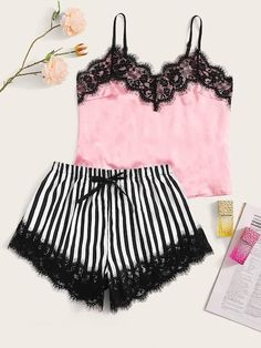 Eyelash Lace Satin Cami With Striped Shorts Women Sexy Lingerie Set 2019 Summer Underwear Nightgown Ladies Sleepwear Sexy Lingerie, Jolie Lingerie, Women Lingerie, Satin Pyjama Set, Satin Pajamas, Pajama Set, Pyjamas, Cute Sleepwear, Sleepwear Sets