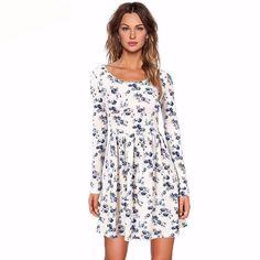 Women Autumn Spring Vintage Dress Long Sleeved Knit Dresses  #women #woman #dress #fashion #clothes #clothe