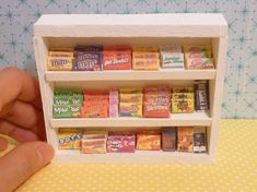 Miniature Dollhouse Candy and Chocolate Box Shelf by MinnieKitchen