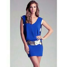 37d8407a Bebe Sexy Blue Beaded Vneck Relaxed Fit Dress Xs Metallic Dress, New  Fashion Clothes,