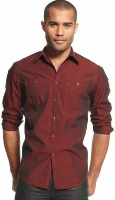 INC NWT Heirloom Red Shirt Button-Front Mens XL Cotton 2 pockets. Stitching #INC