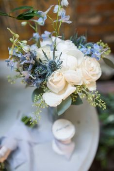 Dusty Blue and Cream Wedding at the Carondelet House in LA featuring Carondelet House Blue Centerpieces, Wedding Centerpieces, Centerpiece Flowers, Wedding Tables, Floral Wedding Decorations, Wedding Flowers, Decor Wedding, Wedding Ideas, Cream Wedding