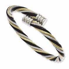 New Chisel Stainless Steel Yellow & Black IP Plated Twisted Cuff Bangle #Chisel #Bangle