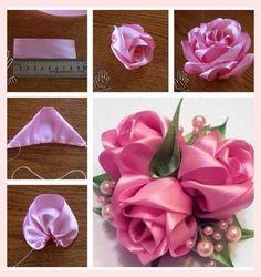 tutoriel diy satinband rosen - www mrsbroos com! Satin Ribbon Flowers, Cloth Flowers, Ribbon Art, Ribbon Crafts, Flower Crafts, Paper Flowers, Make Fabric Flowers, Diy Crafts, Fabric Ribbon