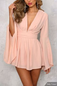 Deep V-neck Front Self Tie Flared Sleeves Playsuit with Zipper