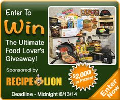 Enter to win The Ultimate Food Lover's Grand Prize Giveaway! @http://www.recipelion.com/sweeps/Ultimate-Food-Lovers-Grand-Prize-Giveaway-BOS-eBook