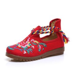 Red Flower Embroidered Retro Colorful Chinese Knot Loafers