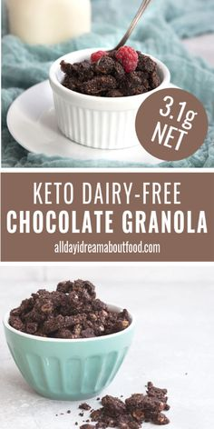 Make Breakfast Fun Again Deliciously Crunchy Low Carb Granola With Hazelnuts And Chocolate. It's Like Having Sugar-Free Keto Nutella In Your Cereal Bowl. This Recipe Is Dairy-Free Too, And Makes A Great Breakfast Or Snack On The Go. How To Make Breakfast, Low Carb Breakfast, Breakfast Recipes, Breakfast Ideas, Low Carb Granola, Ketogenic Recipes, Low Carb Recipes, Cooking Recipes, Ketogenic Diet