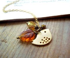 Autumn Bird Necklace - Personalized Monogram Flower Jewelry Bridesmaid Necklace Mothers Day Gifts Under 40 Fall Weddings Bird Jewelry
