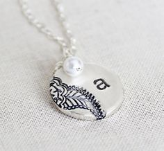 Bridesmaid Paisley Necklace, Pearl Bridesmaid Jewelry Gift, Personalized Silver Bridesmaid Necklace