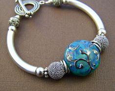 Kalinda pulsera - pulsera de cristal de murano perla plata tubo curvado