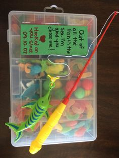 Brians Valentines Day gift !   Fishing rod and tackle box from the dollar store and $10 worth of candy from Bulk Barn!
