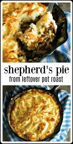 Shepherds Pie is good but Shepherds Pie from Leftover Pot Roast, with classic veggies, that gravy & beautiful browned mashed potatoes is great! This is such a great way to use any leftover Pot Roast # - Shepherds Pie from Leftover Pot Roast Pork Roast Recipes, Rib Recipes, Healthy Recipes, Cooking Recipes, Roast Beef Pie, Roast Beef Casserole, Game Recipes, Easy Cooking, Chuck Roast Recipes