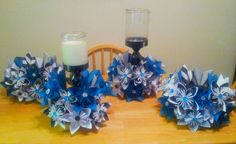 Kusudama Paper Flower Centerpieces - But I will use solid color paper Centrepiece Ideas, Paper Flower Centerpieces, Paper Flowers Wedding, Paper Flowers Diy, Stripe Wedding, Teal Flowers, Event Planning, Free Printables, Candle Holders