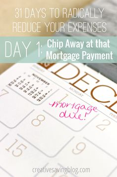 It can be incredibly overwhelming to look at the thousands and thousands of dollars still owed on your home and wonder how you`ll ever whittle it down, but these 6 ideas will help get you started. Use them to significantly reduce your mortgage or eliminate the payment entirely! {31 Days to Radically Reduce Your Expenses, Day 1}