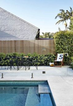 A refined garden design allows an effortless flow between indoors and out for a growing family. Outdoor Stone, Outdoor Pool, Outdoor Gardens, Diy Fence, Backyard Fences, Fence Ideas, Pool Fence, Modern Garden Design, Landscape Design