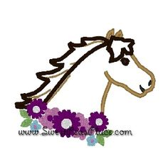 Horse with Flowers Applique Embroidery Design