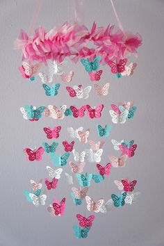 i wonder if something like this would be easy to make. Nursery Mobile - Hot Pink & Aqua Butterfly Mobile, Photography Prop, Baby Shower Gift on Luulla Butterfly Nursery, Butterfly Mobile, Butterfly Baby, Butterfly Crafts, White Butterfly, Diy Bebe, Baby Mobile, Diy For Girls, Girl Nursery