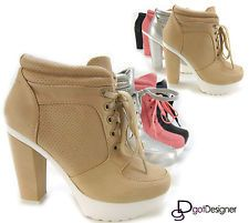 NEW Womens Fashion Ankle Boot Bootie High Heel Pump Platform Lace Up Shoes Sexy