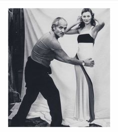 designer Gianni Versace with model Kate Moss