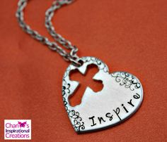 New to CICinspireme on Etsy: Inspire hand stamped heart cross necklace (20.95 USD)