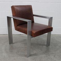"Gambardella Furniture London - Rare Ralph Lauren ""RL1″ Armchair in Aluminium & Leather - come see it!"