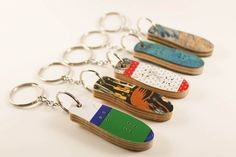 Upcycled Recycled Repurposed - Wood Keychain - Recycled Keychain - Skateboard - Recycled Skateboard Keychain  - Skateboard