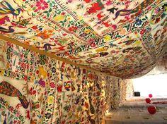 Vintage textile party tent