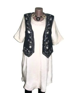 Linen Dress Tunic Plus Size Clothing Black VestBoho by PlusStyle, £38.00