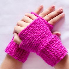 Princess In Pink ~ Basic Fingerless Gloves Crochet Pattern