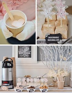 Hot Cocoa Bar + Other Fun Desserts at a Rustic Winter Wonderland Party Winter Birthday Parties, Winter Parties, Birthday Party Themes, Birthday Ideas, Christmas Parties, Tea Parties, Christmas Treats, Party Deco, Snowflake Party
